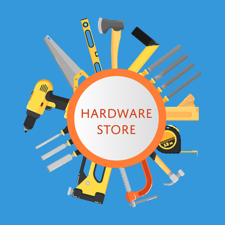 Hardware store banner with building tools Vectores