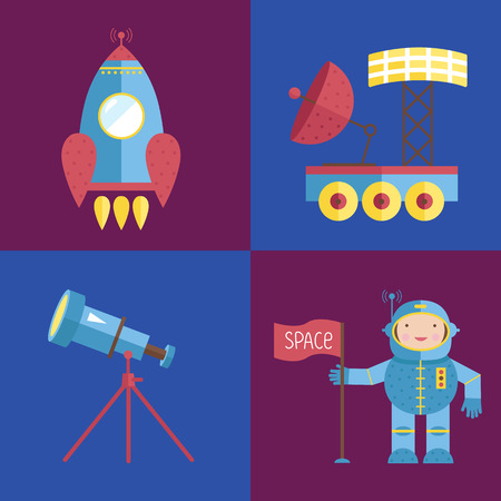 spacesuit: Space Cartoon Vector Icons Collection