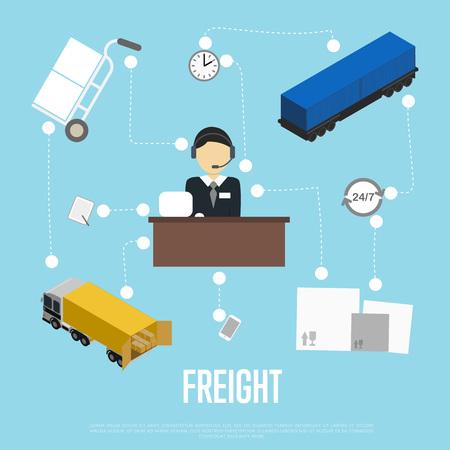 unloading: Logistics and freight shipment flowchart Illustration