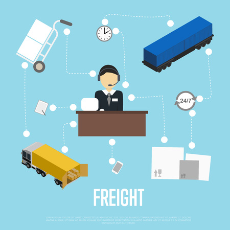 Logistics and freight shipment flowchart Illustration