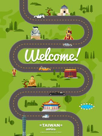 Welcome to Taiwan poster with famous attractions