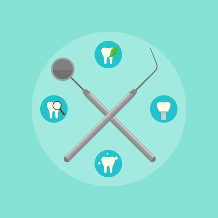 cleanliness: Dental instruments crosswise on color background