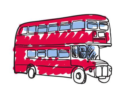 British red bus hand drawn icon