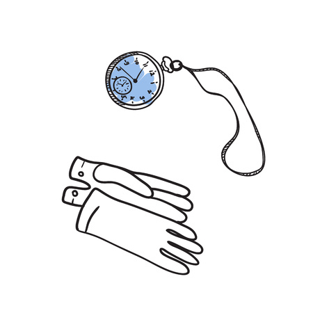 english culture: Vintage gloves and watch hand drawn icon