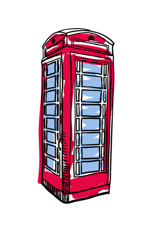 popular: London red phone booth hand drawn isolated icon Illustration