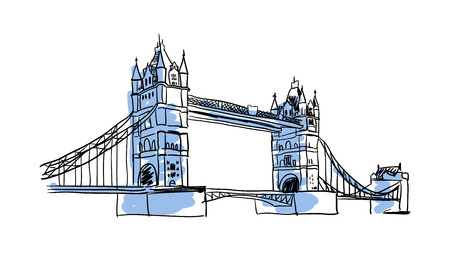 london tower bridge: London Bridge hand drawn isolated icon