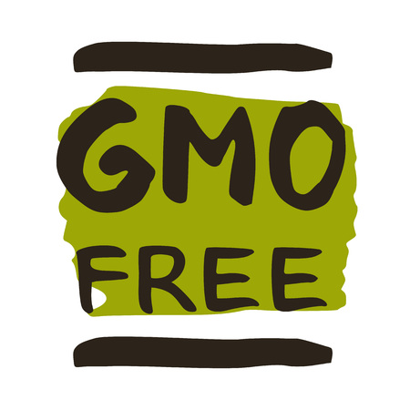 GMO free hand drawn isolated label