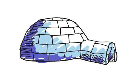 에스키모 이글루 손으로 그린 격리 된 아이콘 일러스트