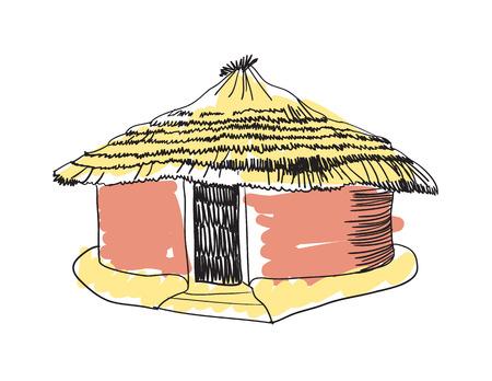 African tribal hut hand drawn icon Vettoriali