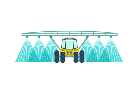Tractor watering field vector icon Illustration