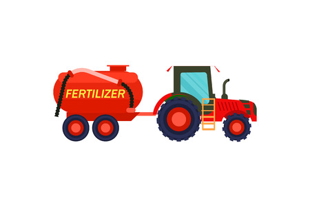 Tractor with fertilizer barrel vector icon Illustration
