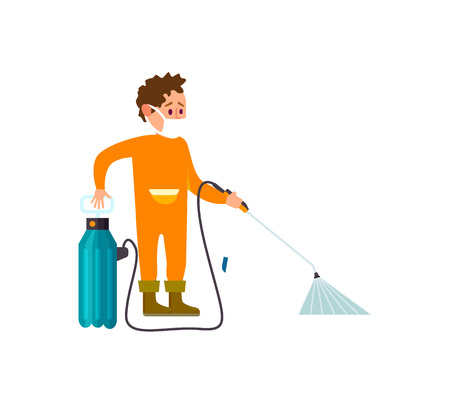 Farmer with knapsack sprayer isolated vector icon