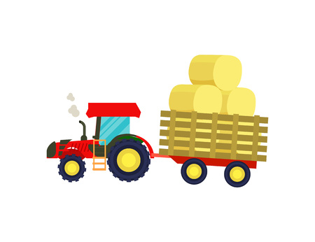 Tractor with balls of hay on trailer icon
