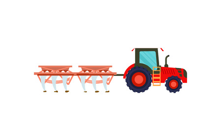 Tractor with plowing equipment vector icon