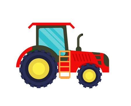 Modern agriculture tractor vector icon Illustration