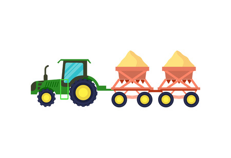 seeding: Tractor with seeding machine vector icon