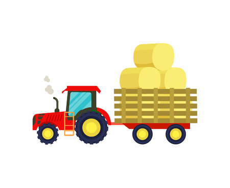 Tractor with hay on trailer icon