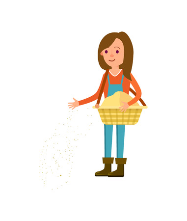 Female farmer seeding vector icon