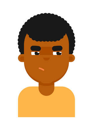 insidious: Insidious facial expression of black boy avatar Illustration