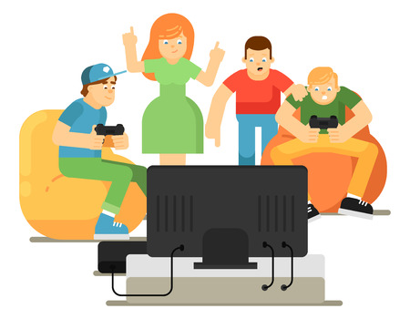 Emotional young people playing in video game Illustration