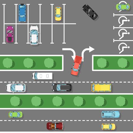 Cartel de las leyes de tráfico en estilo plano