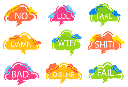 Trendy speech bubble colorful set. Most commonly used acronyms and replica collection. No, lol, fake, damn, wtf, shit, bad, dislike, fail label isolated on white background vector illustration. Illustration