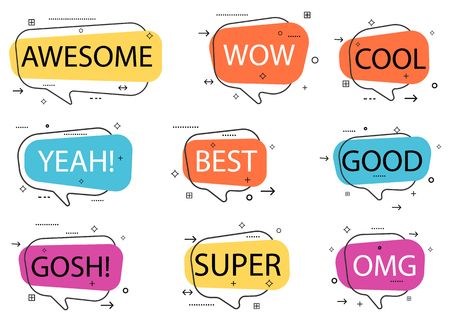 Trendy speech bubble isolated set. Awesome, yeah, cool, super, omg, good, best, wow, gosh label isolated vector illustration. Most commonly used acronyms, abbreviation, and replica collection.