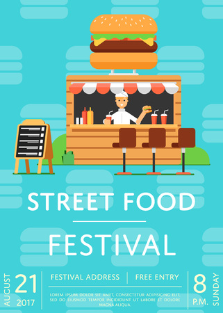 Street fast food festival invitation. Culinary city event brochure template for outdoor burger cafe service. Restaurant menu flyer, urban food fest announcement vector illustration in flat style.