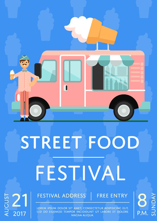 Street Food Festival Invitation With Ice Cream Truck Culinary - Food truck flyer template