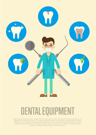 drill: Dental equipment banner with male dentist