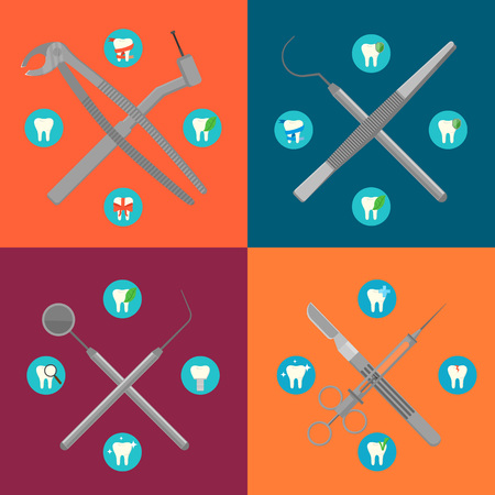 Dental instruments crosswise on color background with round teeth icons. Dentistry isolated vector illustrations. Medical professional equipment. Healthcare and tooth care concept. Dental hygiene