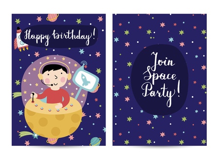 Happy birthday cartoon greeting card on space theme. Cute boy on fantastic spaceship flying in space vector illustration on starry blue background. Bright invitation on childrens costumed party Ilustração