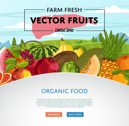 Fresh organic fruit poster vector illustration. Natural product growing, juicy fruit, healthy nutrition, organic farming, vegan food. Illustration