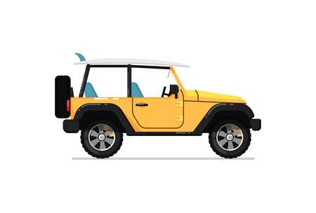 car speed: Off road car isolated vector icon Illustration