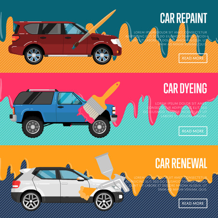 Car repaint, renewal and dyeing business concept