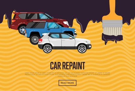 Car repainting business concept with city cars