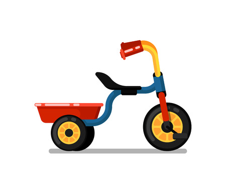 Little children tricycle isolated vector icon Illustration