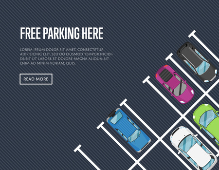 Free parking here poster in flat style. Urban traffic concept, top view parked cars in parking zone, outdoor auto park, public parking lot, city transport services vector illustration. Illustration