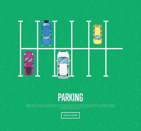 Parking zone poster in flat style. Urban traffic concept, top view parked cars in parking lot, outdoor auto park, free public parking, city transport services. Highway code banner vector illustration.