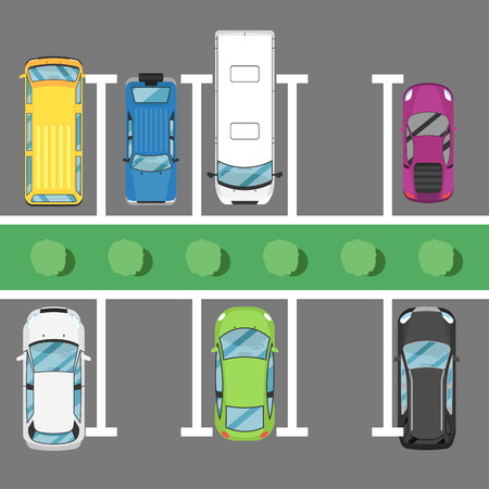 Parking lot poster top view cars. Urban traffic concept, parking zone, outdoor auto park, free public parking, city transport services. Highway code banner vector illustration. Illustration