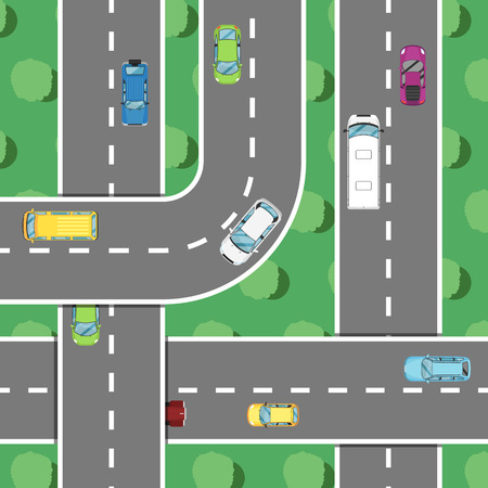 Top view highway traffic in rush hour poster. Urban heavy traffic concept, cars on road, automobile congestion, city transport services. Highway code banner vector illustration.