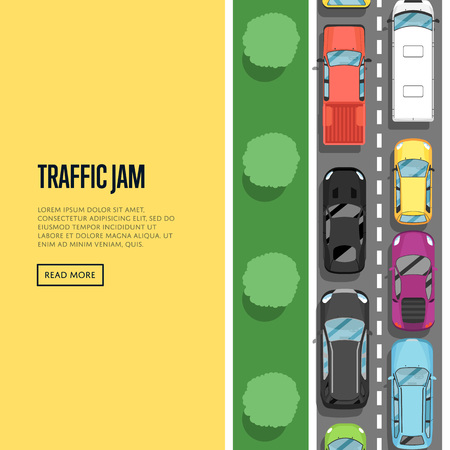 Traffic jam in rush hour poster in flat style. Urban heavy traffic concept, top view cars on road, automobile congestion, city transport services. Highway transportation banner vector illustration. Stock Photo