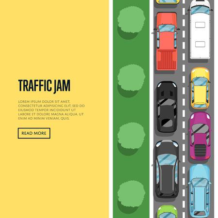 Embouteillage dans l'affiche des heures de pointe dans le style plat. Concept urbain de trafic intense, voitures vue de dessus sur la route, congestion automobile, services de transport urbain. Illustration vectorielle de route transport bannière.