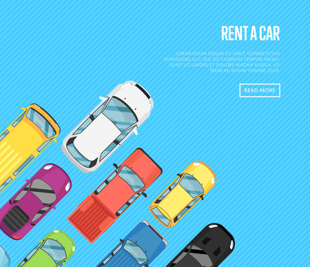 Rent a car poster with top view city cars. Auto business advertising, test drive concept, automobile selling, leasing or renting car banner. Transport service, online pre order car vector illustration Stock Photo