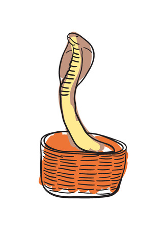 King cobra in basket hand drawn icon