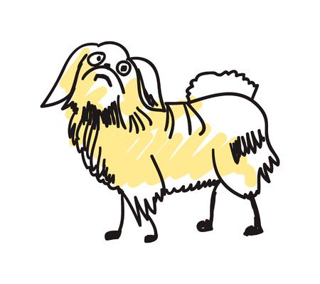 Pekingese dog hand drawn icon Illustration