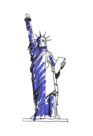 Statue of liberty in New York city hand drawn icon Illustration