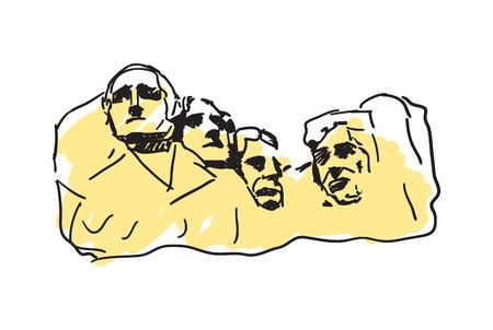 keystone: Mount Rushmore hand drawn icon Illustration