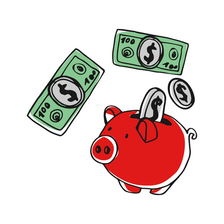 Piggy bank with money hand drawn icon Stock Illustratie