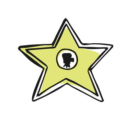 Walk of fame star hand drawn icon Illustration